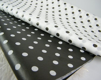Polka Dot Party Supplies | Black and White Tissue sheets | Tissue Paper | Paper Crafts | Gift Wrap | 24 sheets