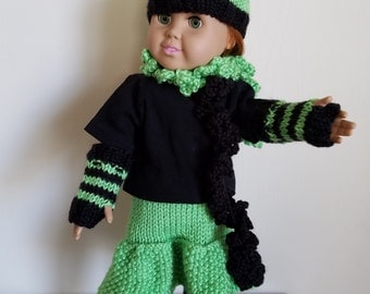 Black and Lime Green knit Set for 18 inch dolls, Hat, Armwarmers, Legwarmers, Skirt and Scarf