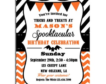 Halloween Invitation Printable or Printed with FREE SHIPPING - Chevron Stripe - Halloween Birthday or Halloween Bash
