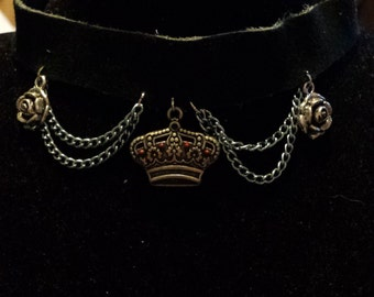 Black Leather Jeweled Crown Choker