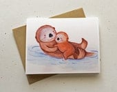 I Otterly Love You! Mother's Day Card by Megumi Lemons