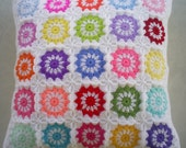 25 colors in white granny square crochet cushion cover / pillow cover