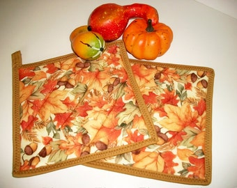 Quilted Pot Holders, Fall Decor, Autumn Fall Leaves, Hot Pads, Gold Orange Red Acorns, Autumn Kitchen Decor, Set of 2