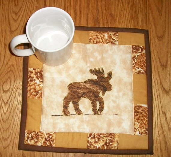 Candle Mat Mug Rug Quilted Moose Lodge By NeedlesnPinsStichery