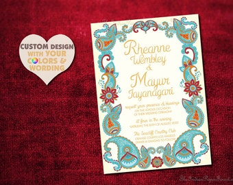 Boho Indian Wedding Invitation PAISLEY HENNA Design Destination Mehndi Engagement Party Bridal Shower Housewarming Bachelorette Hindu Sikh