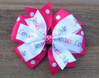 Jesus Loves Me Hair Bow~Boutique Hair Bow~Large Hair Bow~Pinwheel Hair Bow~Polka Dot Hair Bow~Basic Hair Bow~Simple Hair Bow~Hair Bows