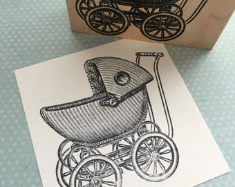 Baby Buggy  Wood Mounted Rubber Stamp 4356