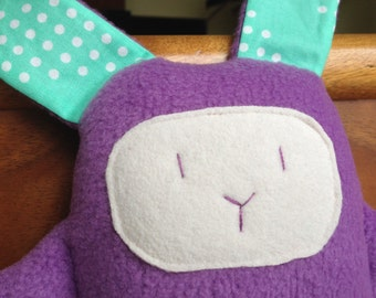 Rabbit stuffed small toy purple for babies, toddlers, children - ready to ship