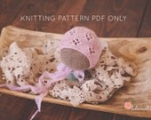 KNITTING pattern baby bonnet lace eyelet lace pattern PDF instant download newborn you may sell all finished items photo prop