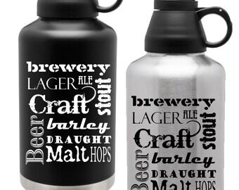 ON SALE! Custom Engraved 64oz Thermal Growler Finger Handle - Personalized Craft Beer Growler - Groomsman Gift Draft Beer Jug - Insulated