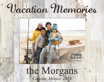 Personalized Vacation Memories Photo Frame - Engraved Wood Frame - Customized Memories designed frame - Vacation Travels Memory Gift