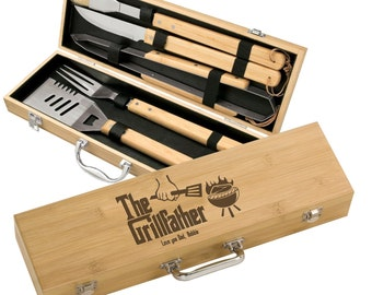 Personalized Grillfather 5 piece BBQ Gift Set - Engraved Godfather style Bamboo Grill Set - Custom Father's Day Grilling Gift Set