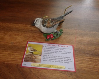 vintage danbury mint christmas ornament the songbird chipping sparrow with tag and paper