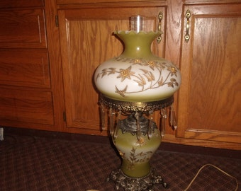 vintage hurricane parlor banquet gone with the wind lamp gold embossed flowers prisms light