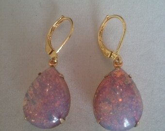 Pink Fire Opal Harlequin Earrings-Pear Shaped Vintage Glass Opals in Gold Settings