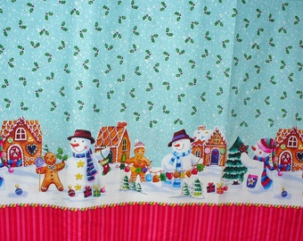 Christmas Snowmen, Snowmen Border, Border Fabric,  Snowmen Fabric, Gingerbread Men,  Christmas Fabric, Snowmen Vignettes, By the Yard