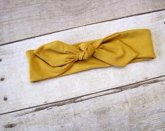 Knot Tie Head wrap | Mustard | Toddler Headwrap | Knot Top Head Wrap | Baby Headband