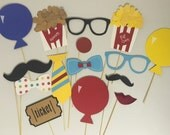 CIRCUS THEME photo booth props for kids birthday parties, fun clown  party props c