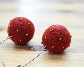 Felt Earrings Maroon and Amber - Needle Felted Ball Earrings with Amber Beads