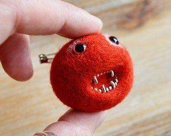 Red Monster Brooch -Scarlet Red Monster, Zombie Needle Felted Pheeple Face Character Pin