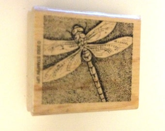 Dragonfly Dragonfly Wooden Rubber Stamp Whimsical Insect Bug Scrapbooking Paper crafting  Card Making