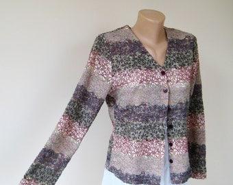 Vintage knitwear mesh jacket, pastel colors women cardigan, striped flowers glitter coat, long sleeve buttons sweater, M 10 US 12 UK