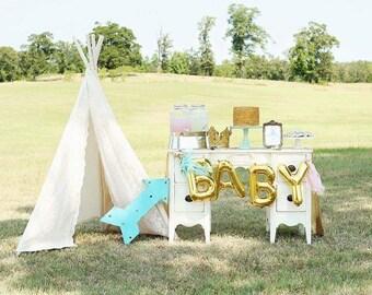 BABY Gold Mylar Balloons {Baby Shower, Gender Reveal decor} With custom Tassles, BABY