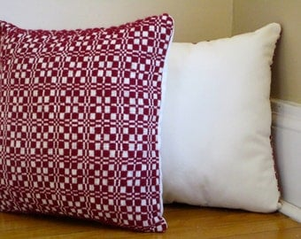 Maroon Squared Pillows, Set of Two