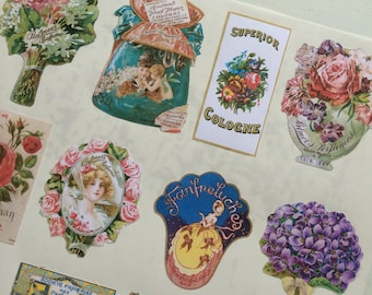 Vintage Perfume Labels Stickers in Mini Bottle Labels
