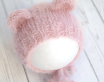 Teddy bonnet, thick fuzzy mohair handknit hat newborn round back hat photography prop - choose a color