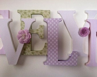 Wooden letters for nursery in pink, white, green and lilac spelling out your child's name letters stand up initial monogram