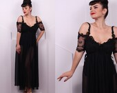 Vintage 1980's Black Jonquil Sheer Negligee • 80's Black Chiffon Slip • Size S
