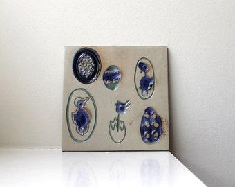 Mid Century Modern Bennington Potters Tile Trivet Blue Eggs Chicks 1535 60's