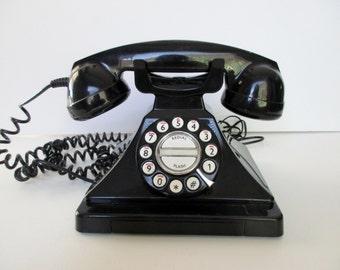 vintage push button phone- black, retro,landline