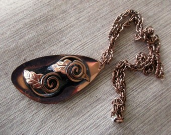 "vintage copper necklace - Rame style, floral, leaves, swirl, 24"" chain"