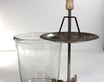 Vintage Glass Measure Cup with Stainless Steel Chopper
