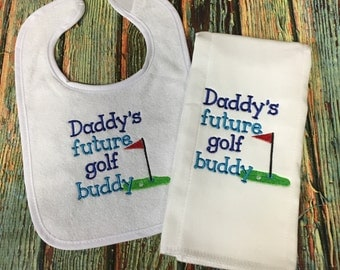 Daddy's Golf Buddy Bib, Baby Boy Gift