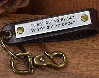 Latitude Longitude Leather Keychain - GPS Keychain - Custom Coordinates or ANY TEXT 40 char - Great Boyfriend gift, Anniversary Gift For Men