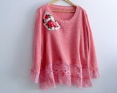 Holiday Sale Shabby Chic Plus Size Romantic Victorian Inspired Pink Sweater
