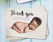 Thank you New Born Photo Card | Instant Download | Photo Wedding | PSD File | Printable