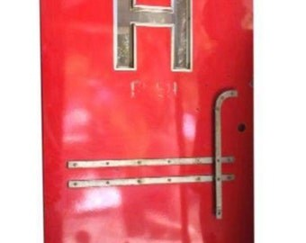 Industrial Graphic Art Deco H Red Hotel Door Steel Curved Handle Rusty Hardware
