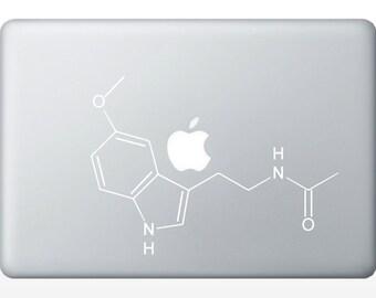Melatonin Compound Molecule laptop DECALS- macbook iPad computer- chemical structure- vinyl sticker