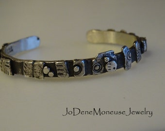 Funky sterling silver torched up cuff, one of a kind, chunky, hand fabricated, metalsmith cuff bracelet