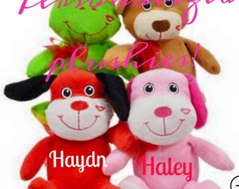 Personalized Valentine Plushes-Stuffed Animals-Party Favors-Best Valentine Gift-Stickers Included