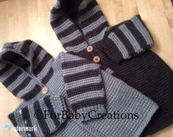 Crochet Baby Boy Sweater with Hood - Dark Grey and/or Light Grey - MADE TO ORDER - 12-18 Months in Tunisian Crochet - Handmade