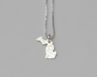 Tiny Michigan Necklace. Small Michigan State Silver Spartans Home Charm. Mitten State Upper Peninsula Jewelry. I Heart State of Michigan.