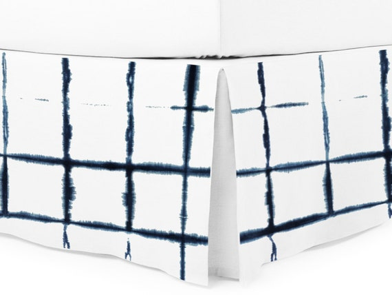 Shibori bedskirt Indigo color dyed on pure white linen Queen King Twin Double or custom size bedskirts