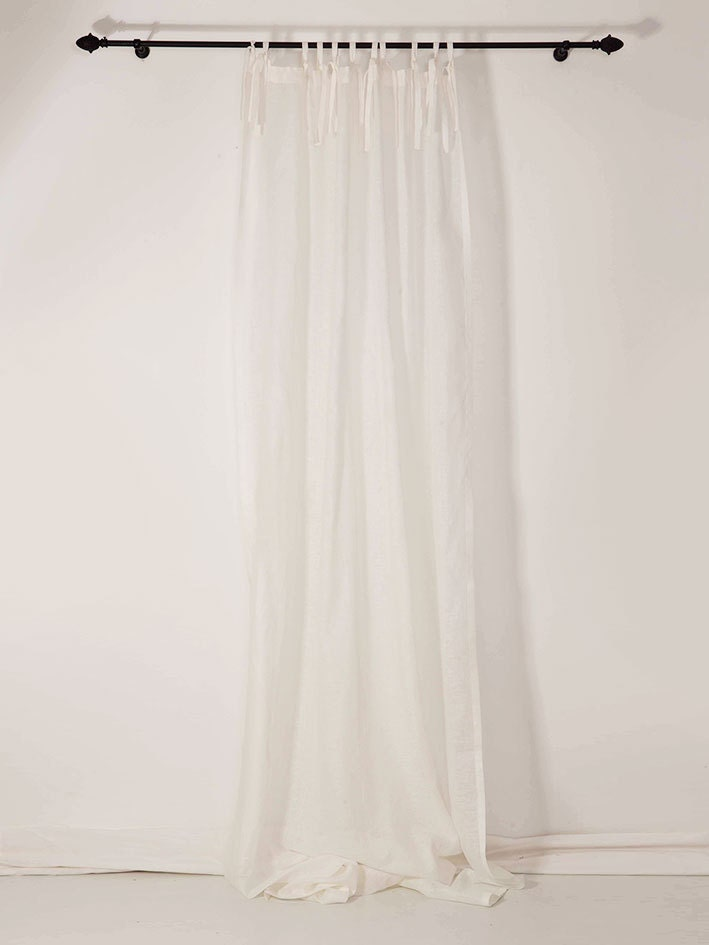 Sheer Curtain White Linen Drapes Rod Pocket And Tie Top