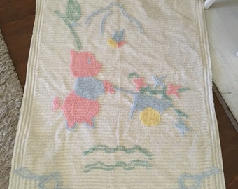Vintage Piggy and Buggy Chenille Crib Bedspread