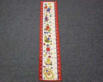 Vintage Austrian Mod 1960s Child's Fabric Growth Chart Wall Hanging (E6931)